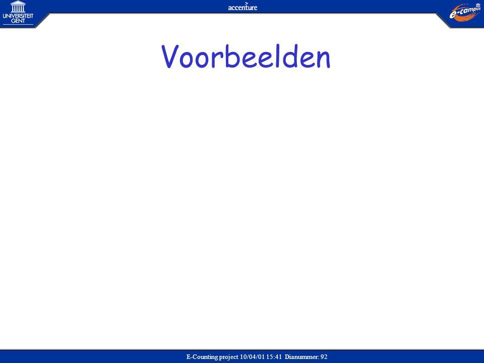 E-Counting project 10/04/01 15:41 Dianummer: 92 Voorbeelden