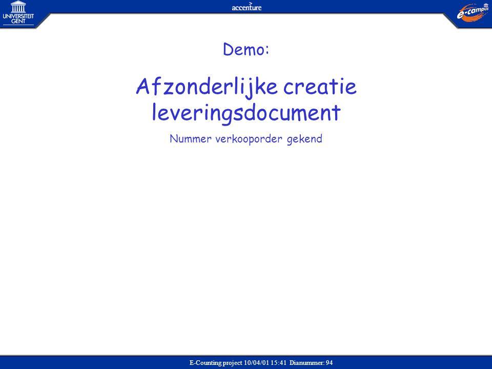 E-Counting project 10/04/01 15:41 Dianummer: 94 Demo: Afzonderlijke creatie leveringsdocument Nummer verkooporder gekend