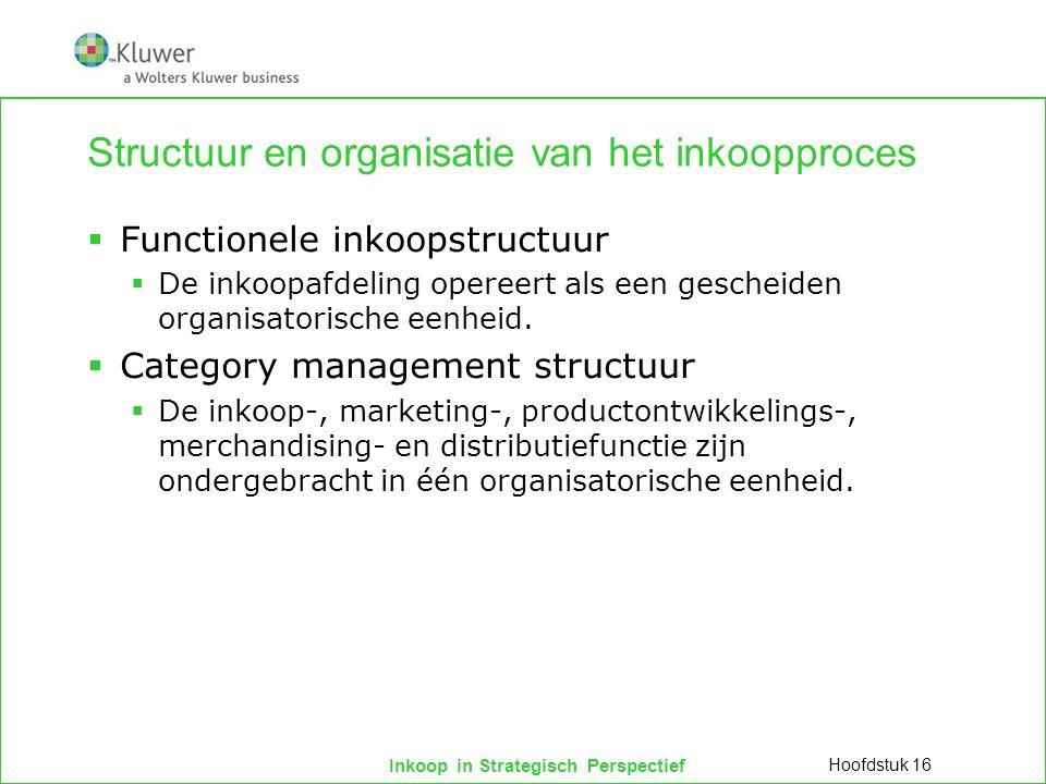 Inkoop in Strategisch Perspectief Structuur en organisatie van het inkoopproces  Functionele inkoopstructuur  De inkoopafdeling opereert als een gescheiden organisatorische eenheid.