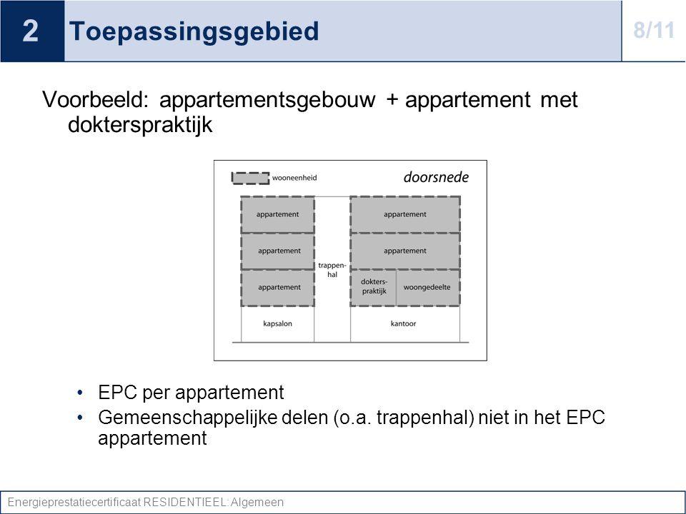 Energieprestatiecertificaat RESIDENTIEEL: Algemeen Toepassingsgebied Voorbeeld: appartementsgebouw + appartement met dokterspraktijk •EPC per appartem