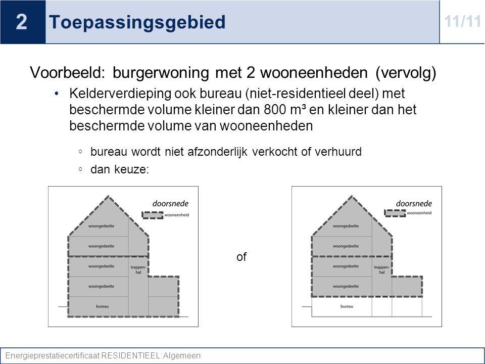 Energieprestatiecertificaat RESIDENTIEEL: Algemeen Toepassingsgebied Voorbeeld: burgerwoning met 2 wooneenheden (vervolg) •Kelderverdieping ook bureau