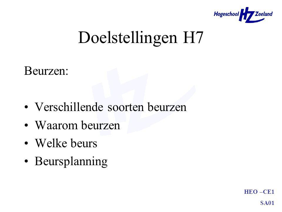 HEO –CE1 SA01 Doelstellingen H7 Beurzen: •Verschillende soorten beurzen •Waarom beurzen •Welke beurs •Beursplanning