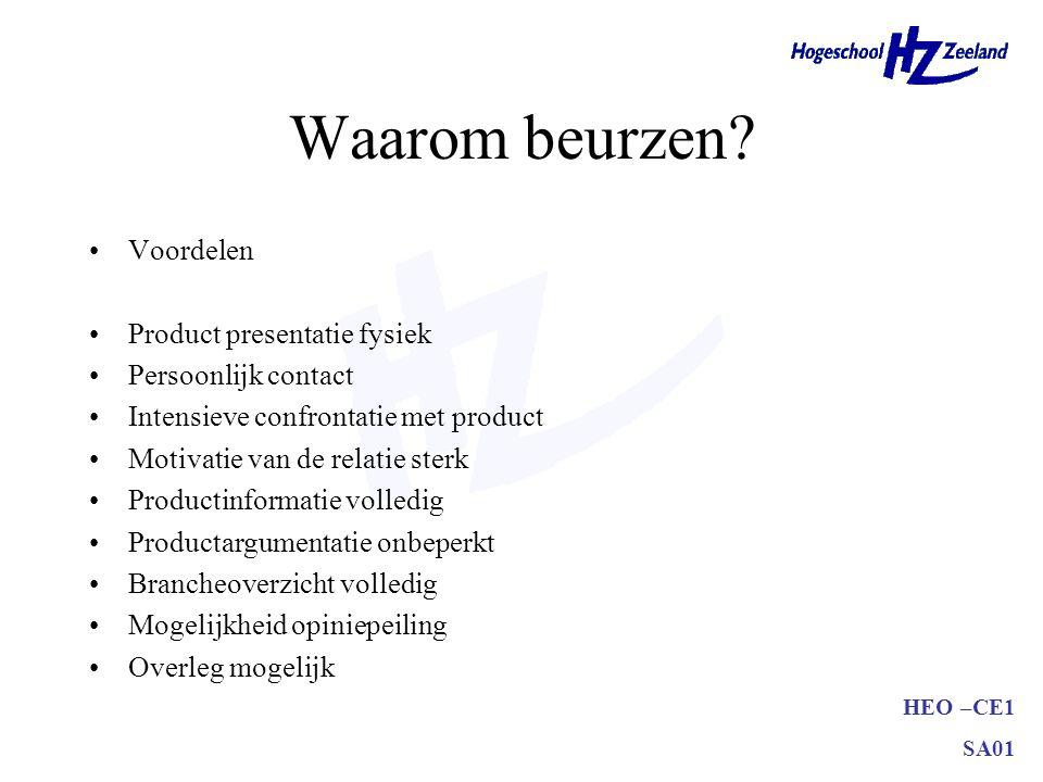 HEO –CE1 SA01 Waarom beurzen? •Voordelen •Product presentatie fysiek •Persoonlijk contact •Intensieve confrontatie met product •Motivatie van de relat