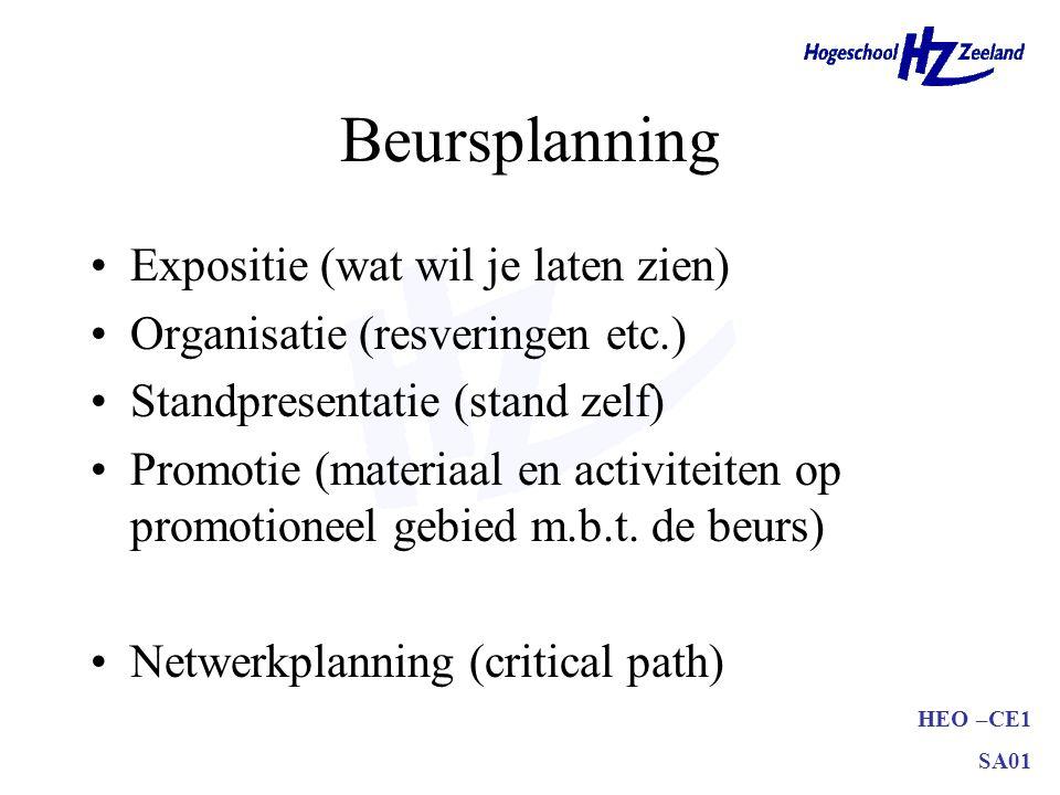 HEO –CE1 SA01 Beursplanning •Expositie (wat wil je laten zien) •Organisatie (resveringen etc.) •Standpresentatie (stand zelf) •Promotie (materiaal en