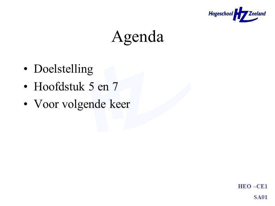 HEO –CE1 SA01 Agenda •Doelstelling •Hoofdstuk 5 en 7 •Voor volgende keer