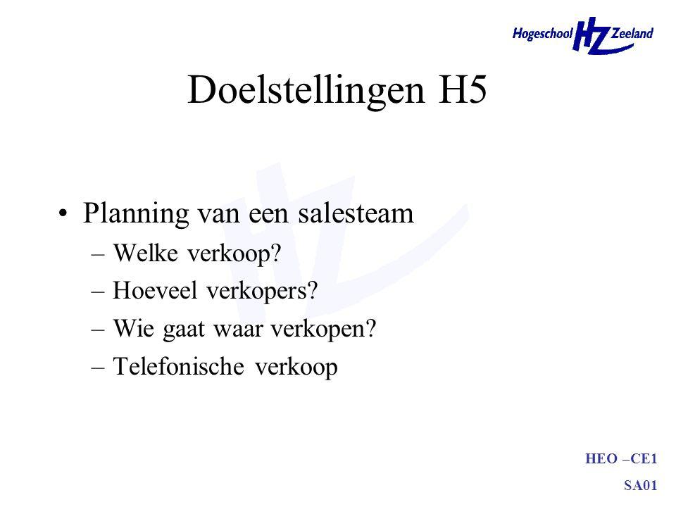 HEO –CE1 SA01 Doelstellingen H5 •Planning van een salesteam –Welke verkoop? –Hoeveel verkopers? –Wie gaat waar verkopen? –Telefonische verkoop