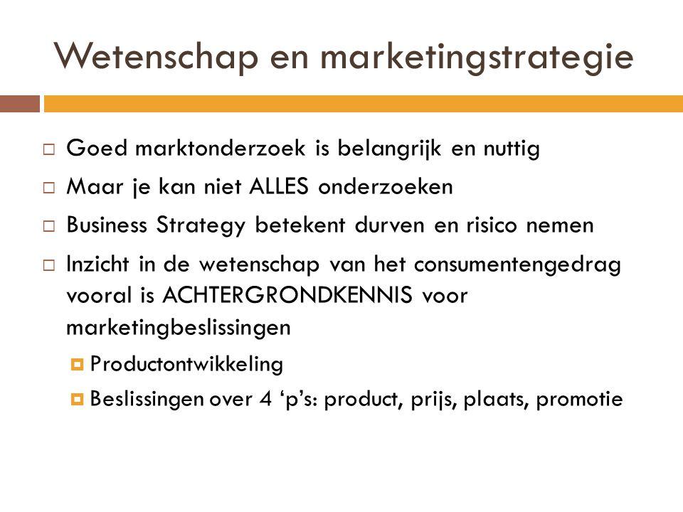 Wetenschap en marketingstrategie  Goed marktonderzoek is belangrijk en nuttig  Maar je kan niet ALLES onderzoeken  Business Strategy betekent durve