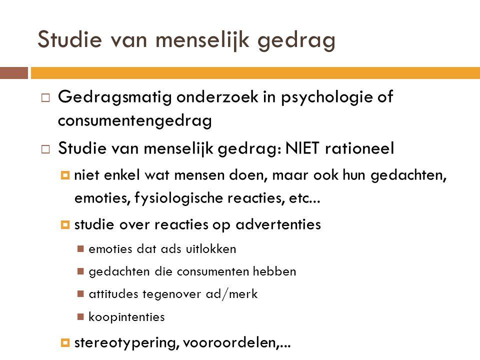 Studie van menselijk gedrag  Gedragsmatig onderzoek in psychologie of consumentengedrag  Studie van menselijk gedrag: NIET rationeel  niet enkel wa