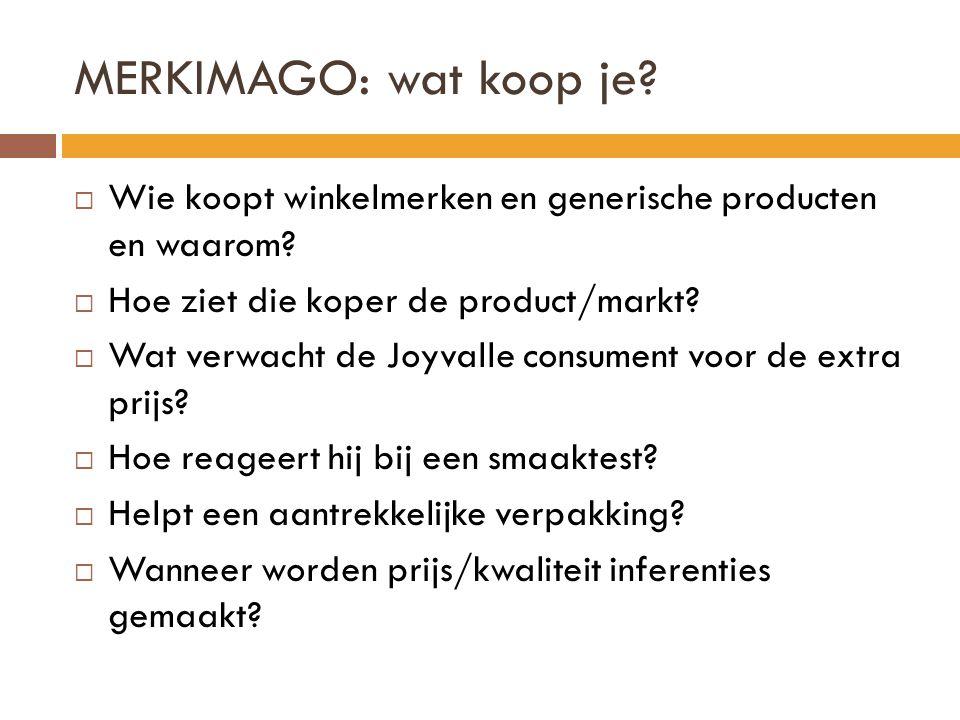 MERKIMAGO: wat koop je?  Wie koopt winkelmerken en generische producten en waarom?  Hoe ziet die koper de product/markt?  Wat verwacht de Joyvalle