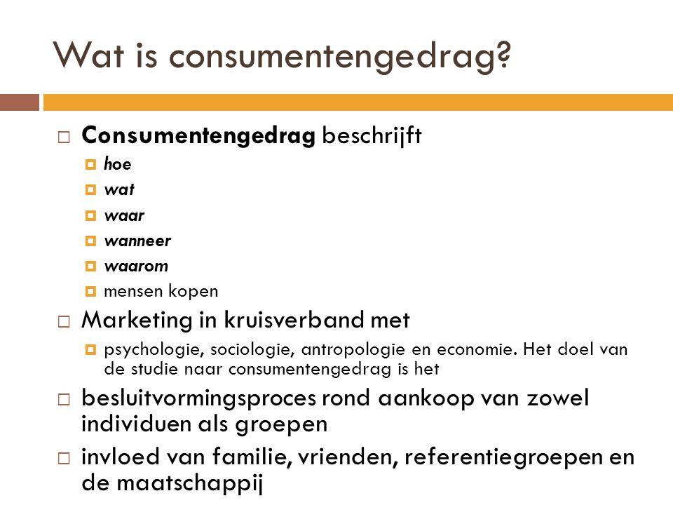 Wat is consumentengedrag?  Consumentengedrag beschrijft  hoe  wat  waar  wanneer  waarom  mensen kopen  Marketing in kruisverband met  psycho