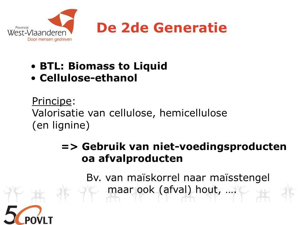 De 2de Generatie Principe: Valorisatie van cellulose, hemicellulose (en lignine) => Gebruik van niet-voedingsproducten oa afvalproducten • BTL: Biomas