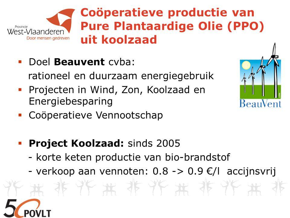 Land- bouwers Areaal Koolzaad Productie koolzaad Prijs €/ton PPOWagens op PPO 2005- 2006 23.64 ha14777 kg4900 l2 2006- 2007 512.6 ha45000 kg16000 l8 2007- 2008 30 ha111000 kg 320 à 340 35000 l18 2006: pers gehuurd 2007: geperst in loondienst + start verkoop koolzaadkoek: 200 €/ton 2008: plannen aankoop mobiele pers + opzet netwerk van garagisten voor ombouw wagens en verkoop PPO + project eco-driving