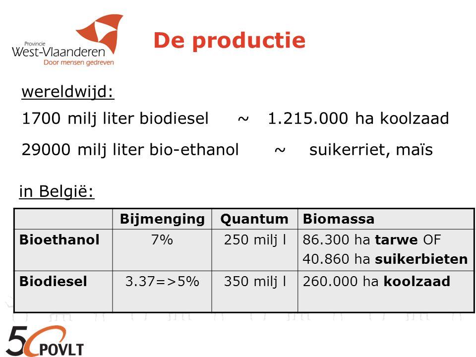 De productie in België: toekenning quota tot 2013 BiodieselBioethanol Neochim (Féluy) Bioro (Gent) Oleon (Ertvelde) Proviron (Oostende) Flanders Bio Fuels (Gistel) – tot 2007 Bio Wanze (Wanze) Alco Bio Fuel (Gent) Tyte & Lyle (Aalst)