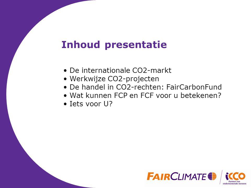 Inhoud presentatie • De internationale CO2-markt • Werkwijze CO2-projecten • De handel in CO2-rechten: FairCarbonFund • Wat kunnen FCP en FCF voor u betekenen.