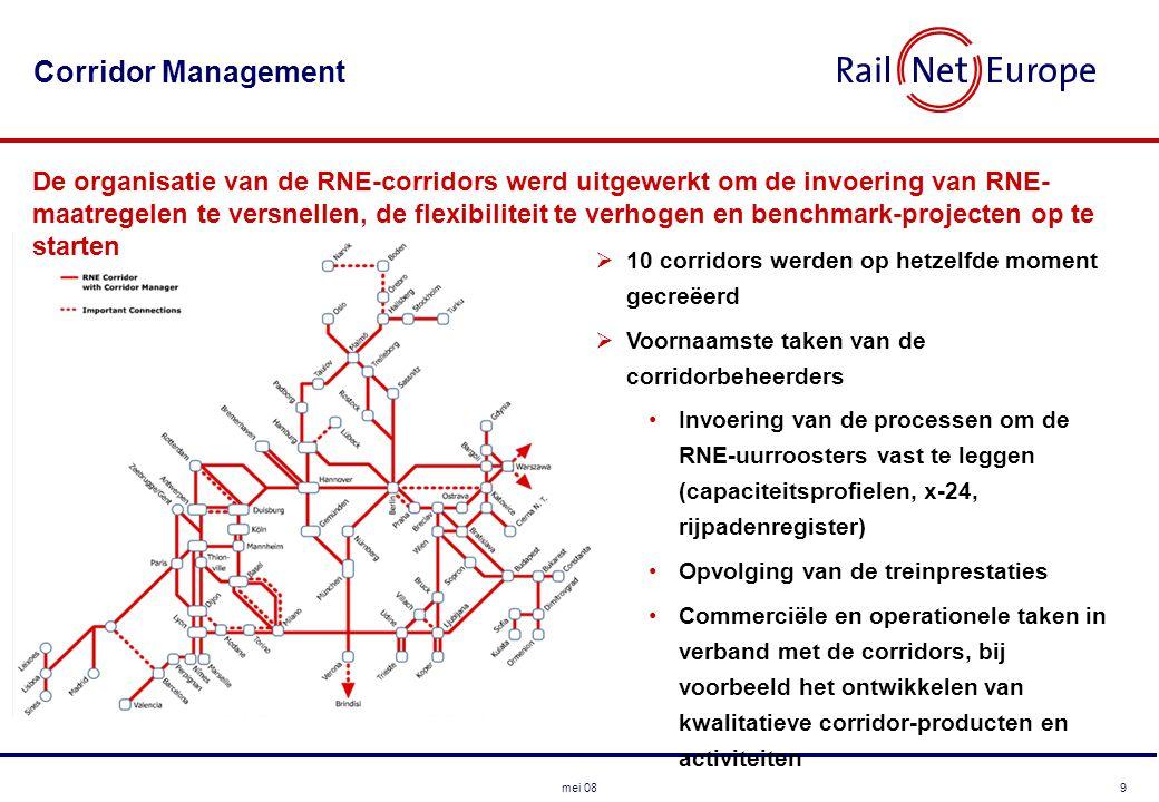 9mei 08 Corridor Management  10 corridors werden op hetzelfde moment gecreëerd  Voornaamste taken van de corridorbeheerders •Invoering van de processen om de RNE-uurroosters vast te leggen (capaciteitsprofielen, x-24, rijpadenregister) •Opvolging van de treinprestaties •Commerciële en operationele taken in verband met de corridors, bij voorbeeld het ontwikkelen van kwalitatieve corridor-producten en activiteiten De organisatie van de RNE-corridors werd uitgewerkt om de invoering van RNE- maatregelen te versnellen, de flexibiliteit te verhogen en benchmark-projecten op te starten
