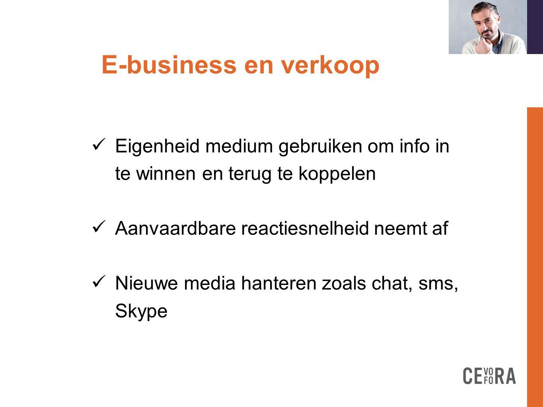 E-business en verkoop formation doit  Online presentatie van producten stelt specifieke eisen  Scheidslijn tussen verwachtingen back- office en buitendienst wordt dunner