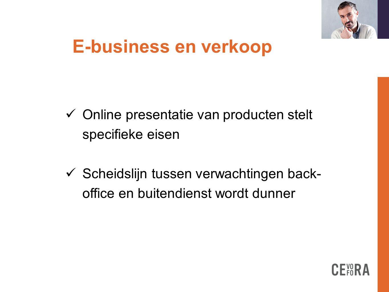 E-business en verkoop formation doit  Online presentatie van producten stelt specifieke eisen  Scheidslijn tussen verwachtingen back- office en buit