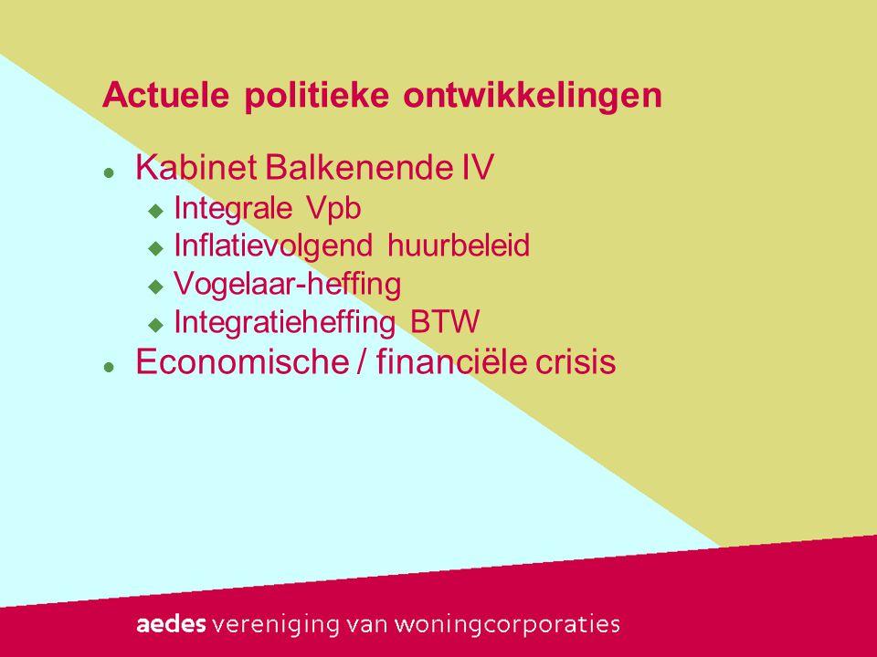Actuele politieke ontwikkelingen  Kabinet Balkenende IV  Integrale Vpb  Inflatievolgend huurbeleid  Vogelaar-heffing  Integratieheffing BTW  Economische / financiële crisis