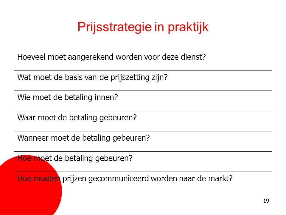 19 Prijsstrategie in praktijk Hoeveel moet aangerekend worden voor deze dienst? Wat moet de basis van de prijszetting zijn? Wie moet de betaling innen