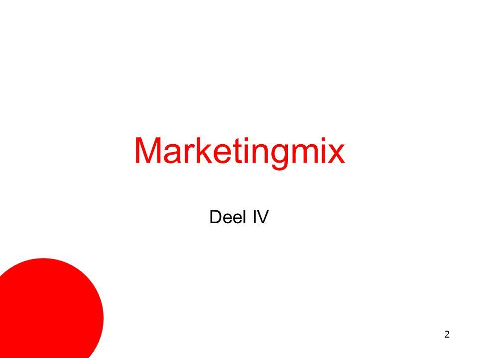 3 Deel IV Marketingmix Hoofdstuk 1 Hoofdstuk 2 Hoofdstuk 3 Hoofdstuk 4 8P-model Prijsbeleid Communicatiebeleid Distributiebeleid