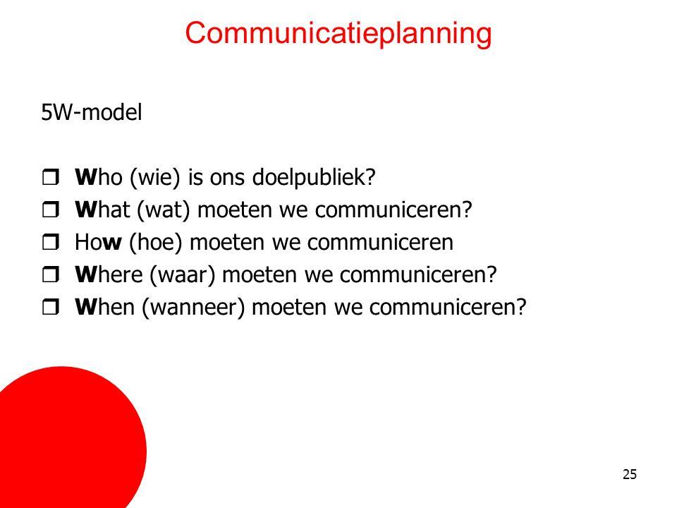 25 Communicatieplanning 5W-model  Who (wie) is ons doelpubliek?  What (wat) moeten we communiceren?  How (hoe) moeten we communiceren  Where (waar