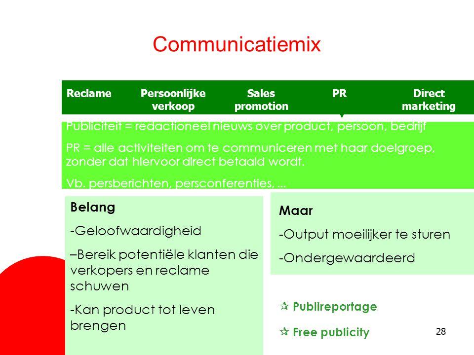 28 Communicatiemix ReclameSales promotion Persoonlijke verkoop PRDirect marketing Publiciteit = redactioneel nieuws over product, persoon, bedrijf PR