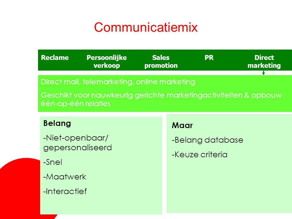 30 Communicatiemix ReclameSales promotion Persoonlijke verkoop PRDirect marketing Direct mail, telemarketing, online marketing Geschikt voor nauwkeuri