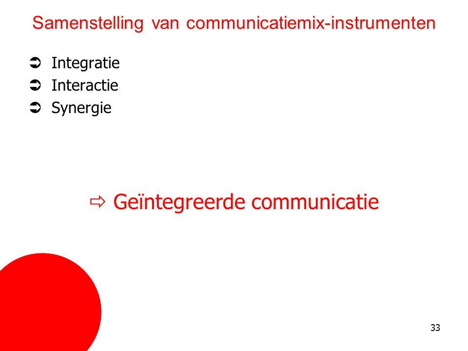33 Samenstelling van communicatiemix-instrumenten  Integratie  Interactie  Synergie  Geïntegreerde communicatie