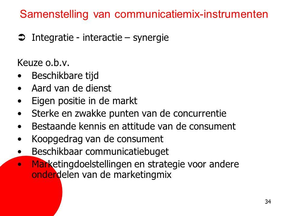 34 Samenstelling van communicatiemix-instrumenten  Integratie - interactie – synergie Keuze o.b.v. •Beschikbare tijd •Aard van de dienst •Eigen posit