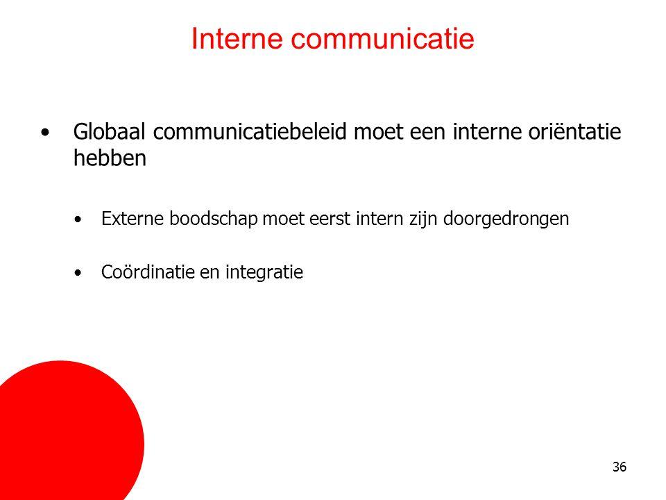 36 Interne communicatie •Globaal communicatiebeleid moet een interne oriëntatie hebben •Externe boodschap moet eerst intern zijn doorgedrongen •Coördi