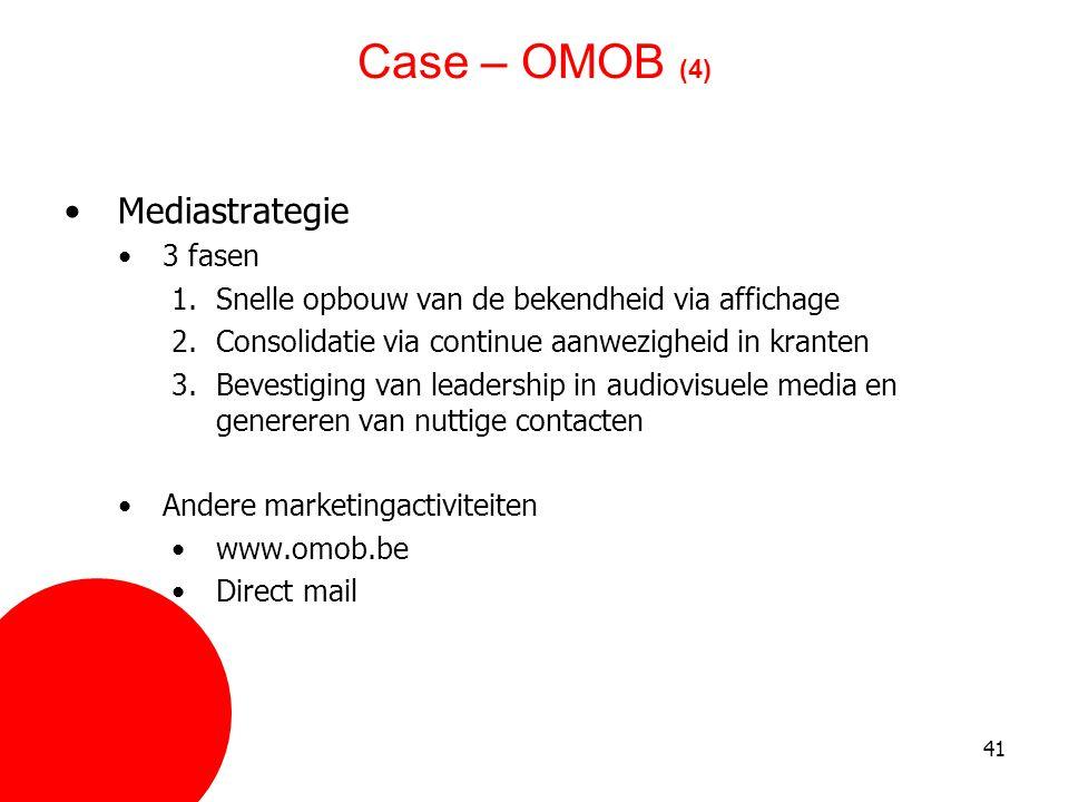 41 Case – OMOB (4) •Mediastrategie •3 fasen 1.Snelle opbouw van de bekendheid via affichage 2.Consolidatie via continue aanwezigheid in kranten 3.Beve