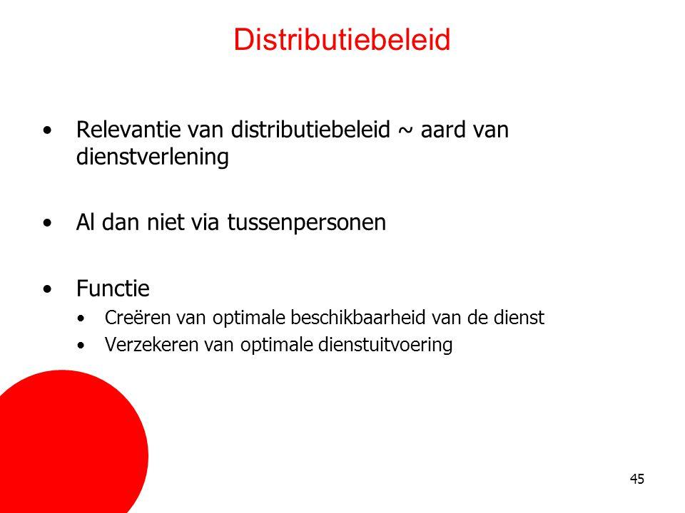 45 Distributiebeleid •Relevantie van distributiebeleid ~ aard van dienstverlening •Al dan niet via tussenpersonen •Functie •Creëren van optimale besch