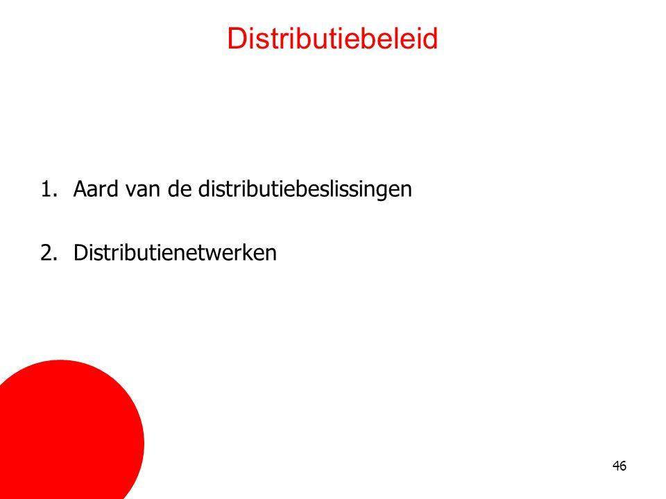 46 Distributiebeleid 1.Aard van de distributiebeslissingen 2.Distributienetwerken