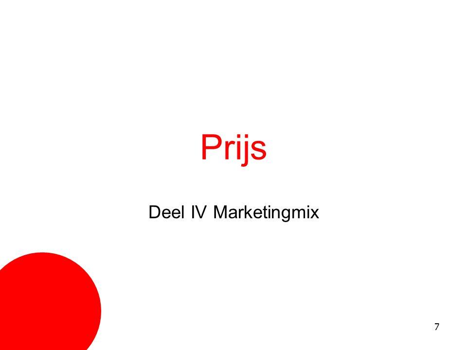 28 Communicatiemix ReclameSales promotion Persoonlijke verkoop PRDirect marketing Publiciteit = redactioneel nieuws over product, persoon, bedrijf PR = alle activiteiten om te communiceren met haar doelgroep, zonder dat hiervoor direct betaald wordt.