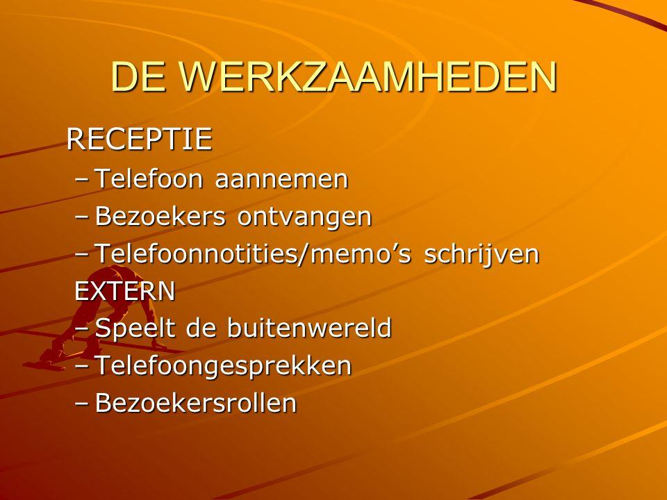DE WERKZAAMHEDEN RECEPTIE –T–T–T–Telefoon aannemen –B–B–B–Bezoekers ontvangen –T–T–T–Telefoonnotities/memo's schrijven EXTERN –S–S–S–Speelt de buitenwereld –T–T–T–Telefoongesprekken –B–B–B–Bezoekersrollen