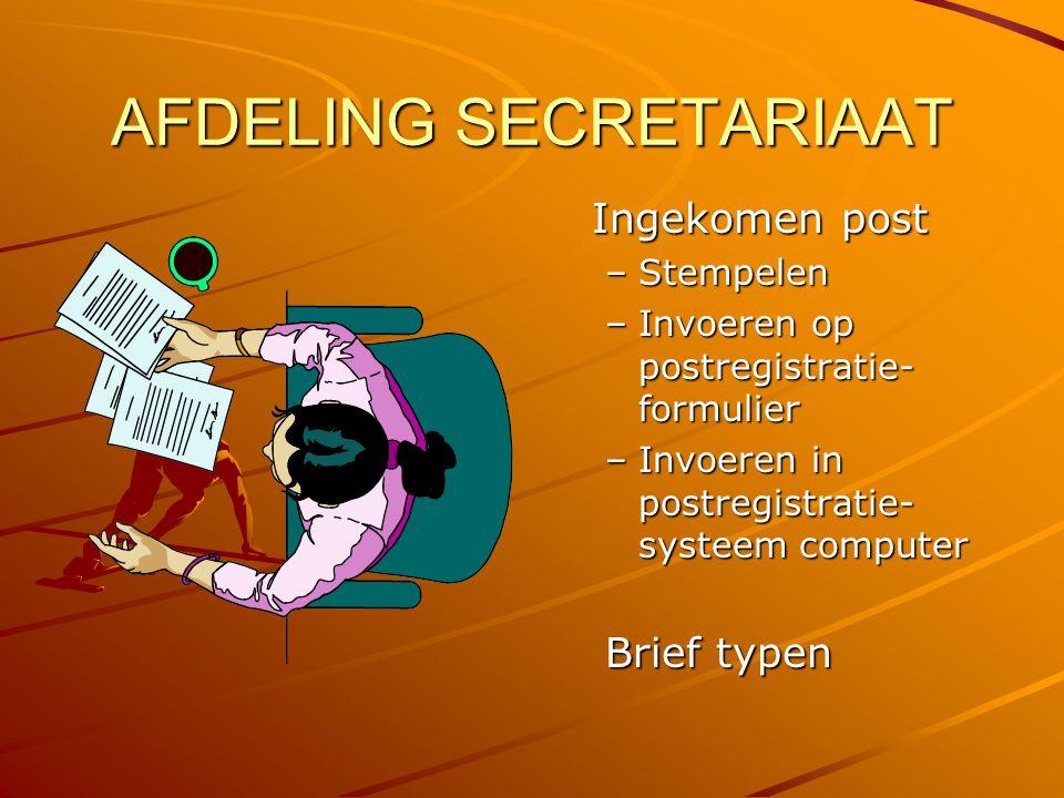 AFDELING SECRETARIAAT Ingekomen post –Stempelen –Invoeren op postregistratie- formulier –Invoeren in postregistratie- systeem computer Brief typen