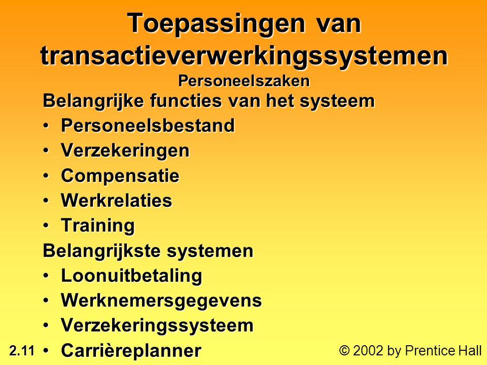 2.11 © 2002 by Prentice Hall Toepassingen van transactieverwerkingssystemen Personeelszaken Belangrijke functies van het systeem •Personeelsbestand •V