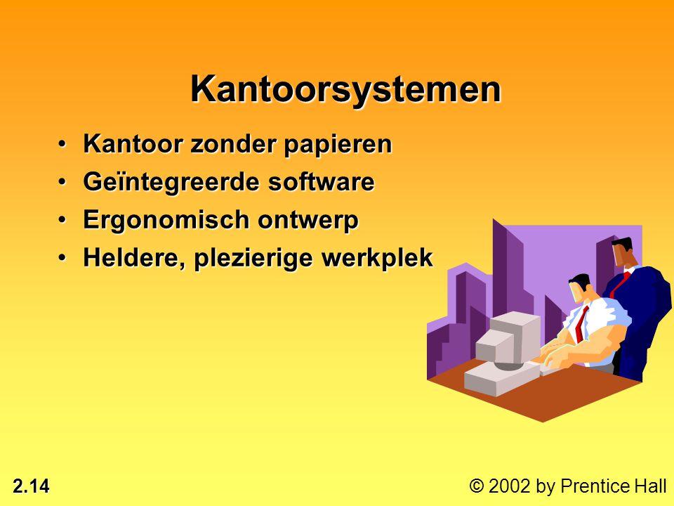 2.14 © 2002 by Prentice Hall Kantoorsystemen •Kantoor zonder papieren •Geïntegreerde software •Ergonomisch ontwerp •Heldere, plezierige werkplek