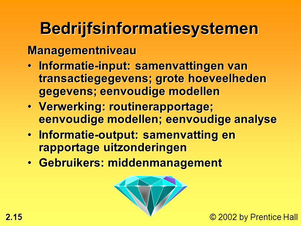 2.15 © 2002 by Prentice Hall Managementniveau •Informatie-input: samenvattingen van transactiegegevens; grote hoeveelheden gegevens; eenvoudige modell