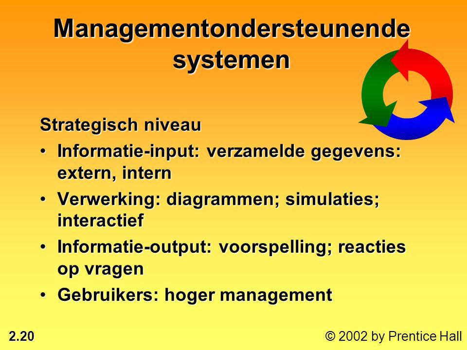 2.20 © 2002 by Prentice Hall Strategisch niveau •Informatie-input: verzamelde gegevens: extern, intern •Verwerking: diagrammen; simulaties; interactie