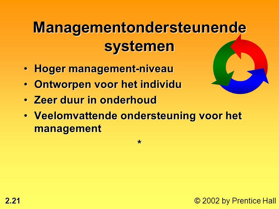 2.21 © 2002 by Prentice Hall •Hoger management-niveau •Ontworpen voor het individu •Zeer duur in onderhoud •Veelomvattende ondersteuning voor het mana