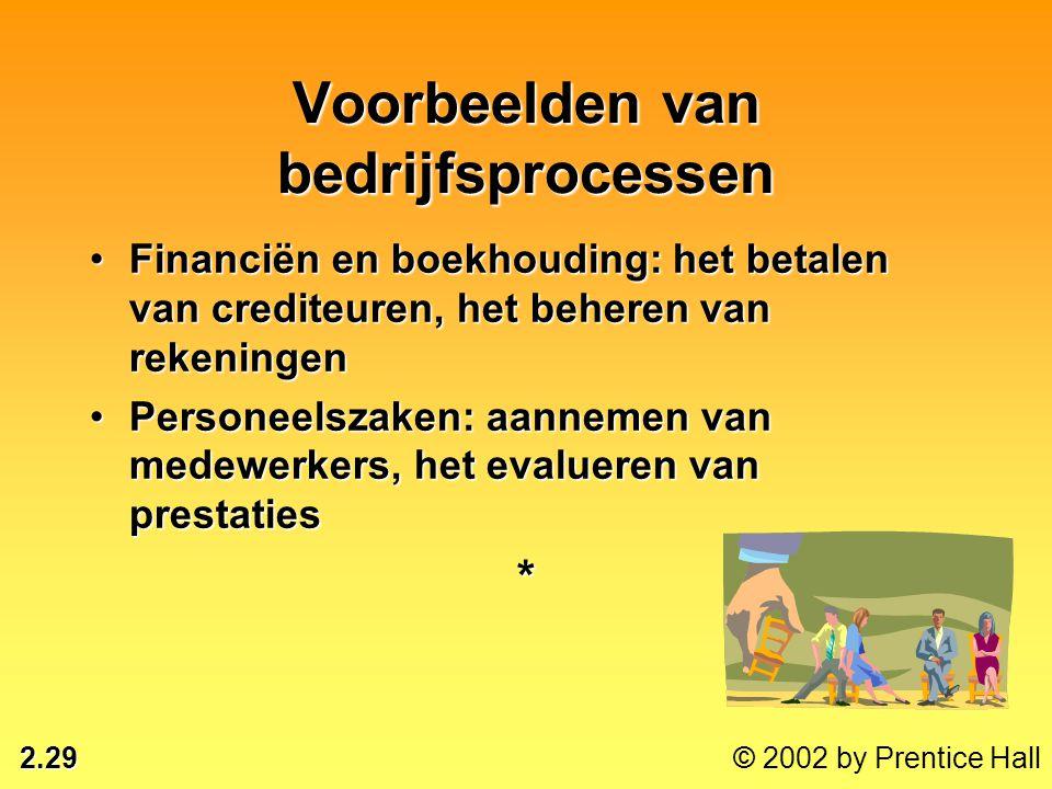 2.29 © 2002 by Prentice Hall Voorbeelden van bedrijfsprocessen •Financiën en boekhouding: het betalen van crediteuren, het beheren van rekeningen •Per