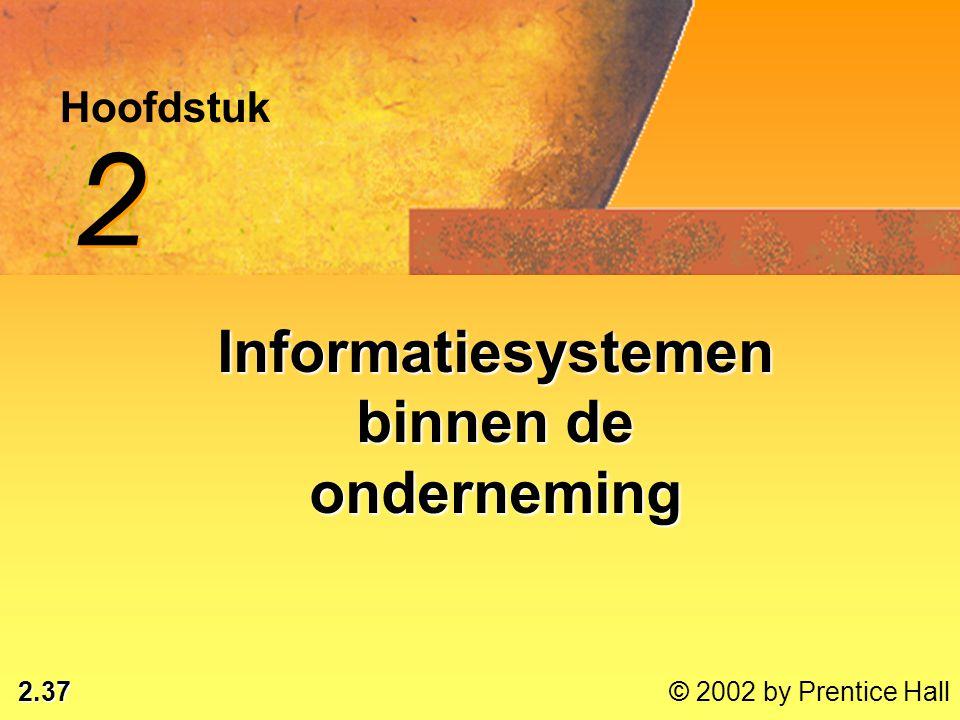 2.37 © 2002 by Prentice Hall Hoofdstuk 2 2 Informatiesystemen binnen de onderneming