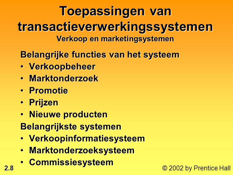 2.8 © 2002 by Prentice Hall Toepassingen van transactieverwerkingssystemen Verkoop en marketingsystemen Belangrijke functies van het systeem •Verkoopb