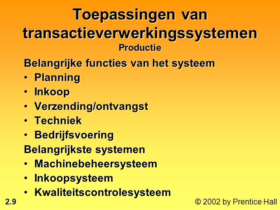 2.9 © 2002 by Prentice Hall Toepassingen van transactieverwerkingssystemen Productie Belangrijke functies van het systeem •Planning •Inkoop •Verzendin
