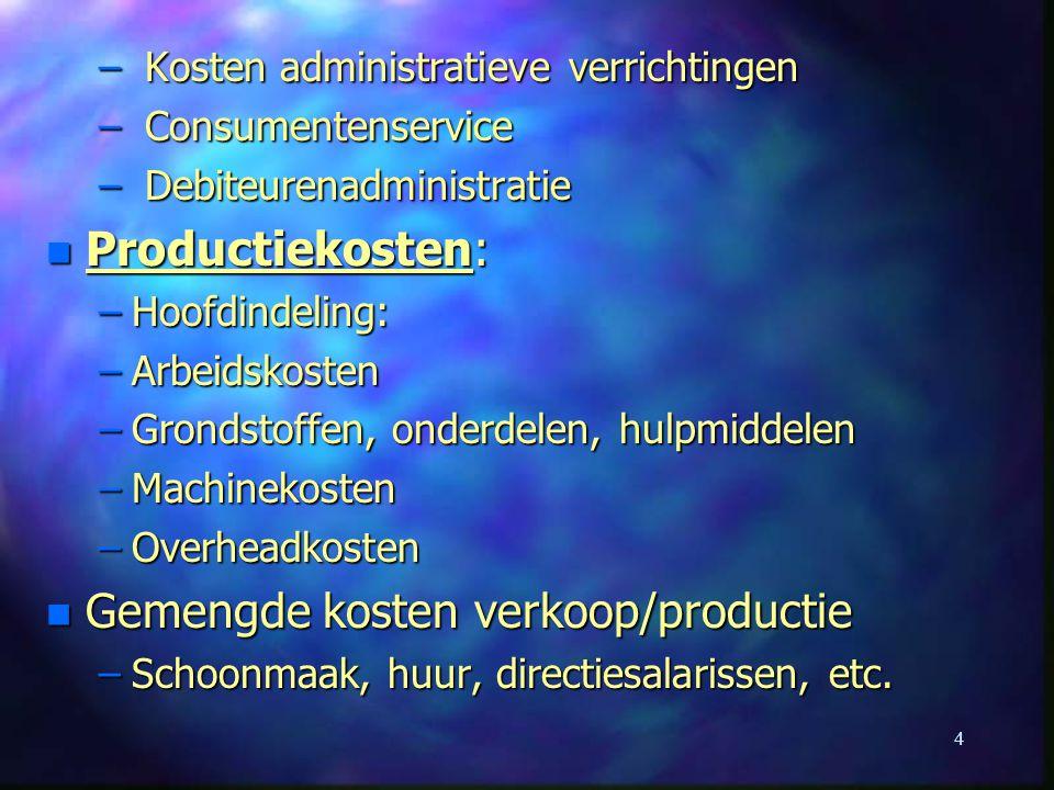 4 – Kosten administratieve verrichtingen – Consumentenservice – Debiteurenadministratie n Productiekosten: –Hoofdindeling: –Arbeidskosten –Grondstoffe