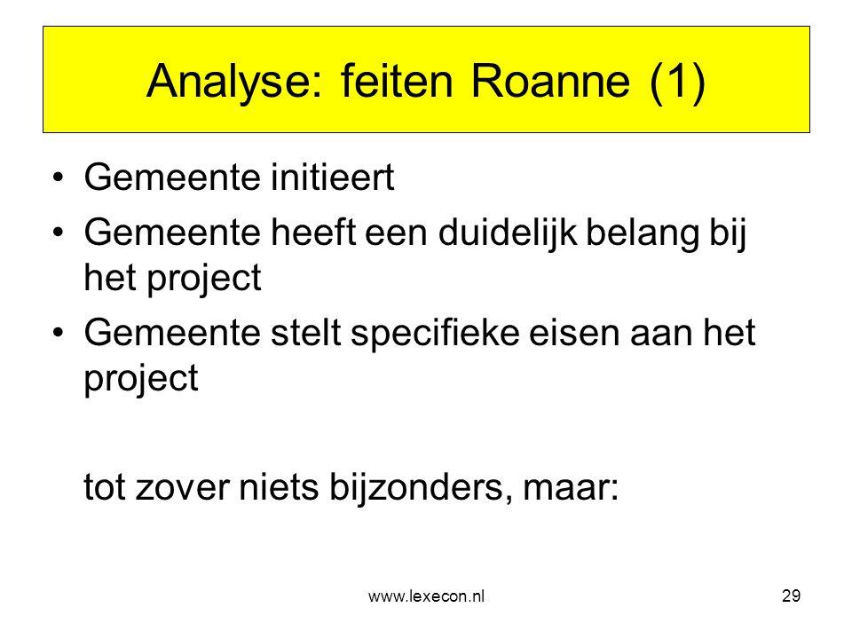 www.lexecon.nl29 Analyse: feiten Roanne (1) •Gemeente initieert •Gemeente heeft een duidelijk belang bij het project •Gemeente stelt specifieke eisen