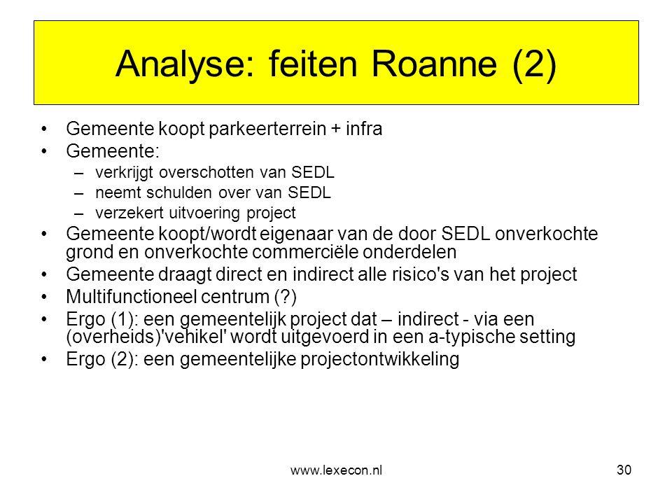 www.lexecon.nl30 Analyse: feiten Roanne (2) •Gemeente koopt parkeerterrein + infra •Gemeente: –verkrijgt overschotten van SEDL –neemt schulden over va