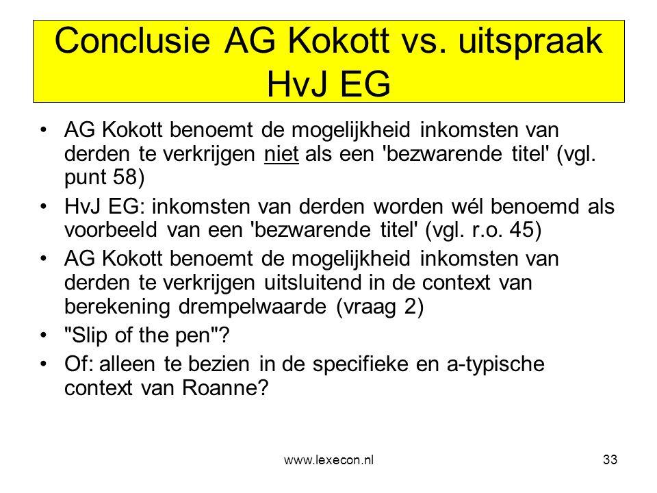 www.lexecon.nl33 Conclusie AG Kokott vs. uitspraak HvJ EG •AG Kokott benoemt de mogelijkheid inkomsten van derden te verkrijgen niet als een 'bezwaren