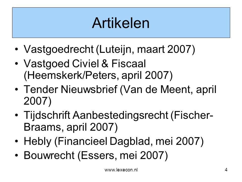 www.lexecon.nl35 Richtlijnsystematiek: concessie (2) •Gronduitgifte voor woningbouw: concessie voor een privaat werk •Concessie niet gedekt onder reguliere definitie van een werk : ingevoegde, extra bepaling •A contrario argumentatie